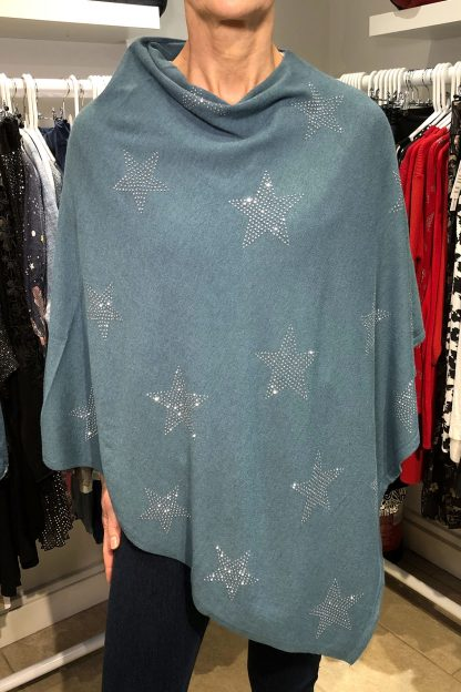 two way star poncho teal