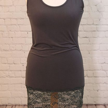 Vest with deep lace hem
