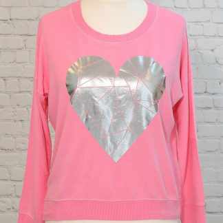 Pink heart sweatshirt top with split hem