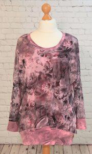 Long, pink rose flower printed chiffon top