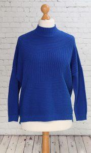 ribbed design jumper royal blue