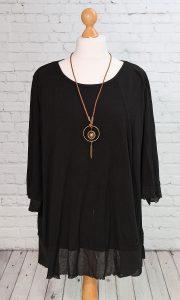 Frayed edged tunic, black