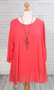 Frayed edged tunic, coral