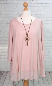 Frayed edged tunic, pale pink