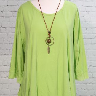 Frayed edged tunic mint green.