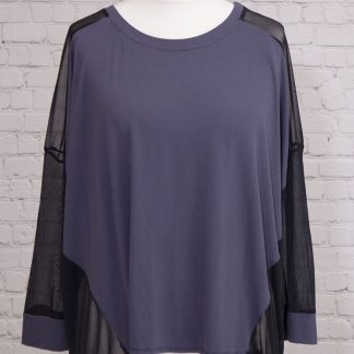 Plain front, chiffon back top