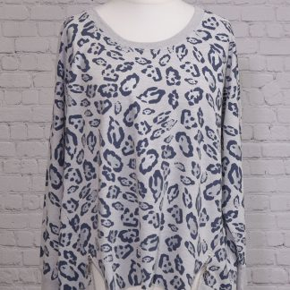 Contrast printed animal sweat with zip detail at front