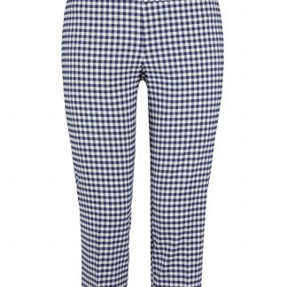 navy and white check. Up! Pants