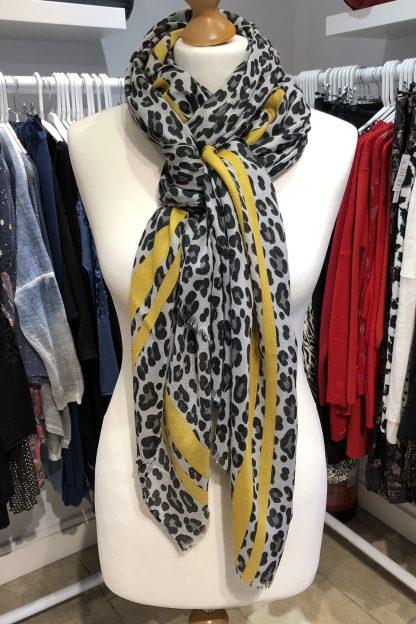 leopard print scarf mustard