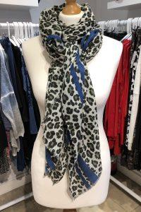 leopard print scarf blue