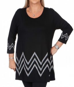 black jersey sparkle zigzag