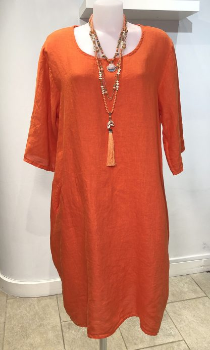 Linen dress with sleeve