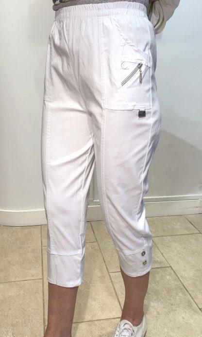 White Zip Detail Crops