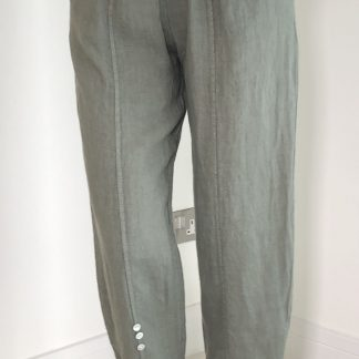 Linen Button Detail Trousers