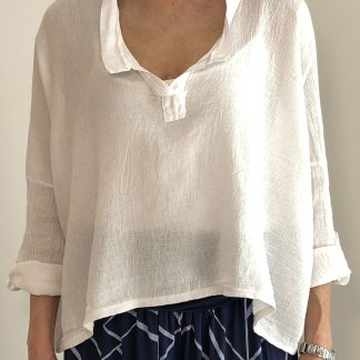 Washed Effect V Neck Cotton/Linen Top