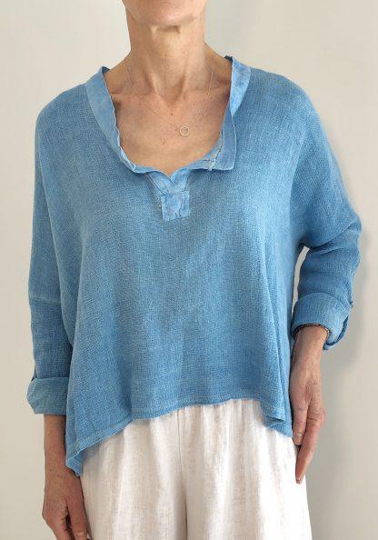 Washed Effect V Neck Cotton/Linen Top