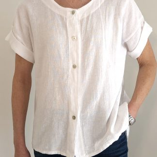 Button Front, Round Neck Linen/Cotton Shirt