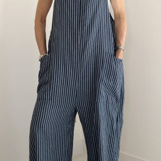 oversize stripe dungaree