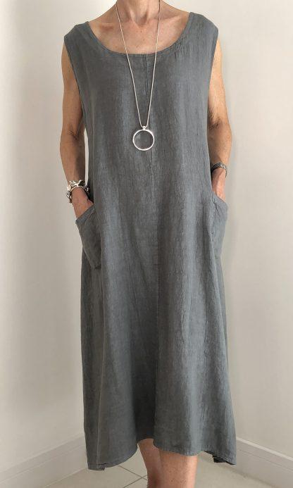 linen button back dress