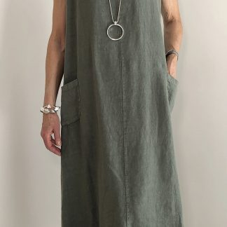 linen button back dress