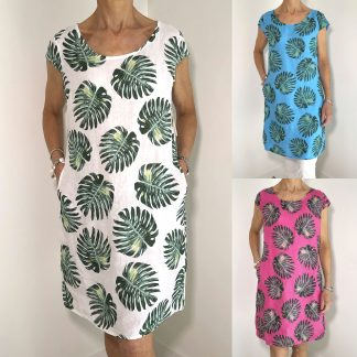palm tree linen dress