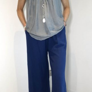 Cotton Seersucker Cropped Trousers