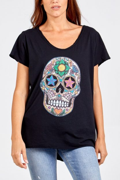 sequin skull t shirt