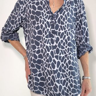 giraffe print button neck