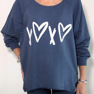 Heart & Kiss Zip Sweat Shirt
