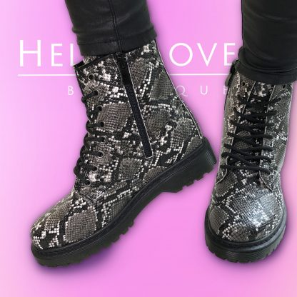 faux leather animal print boot