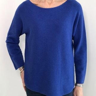 Boat Neck, Shaped Hem Jumper