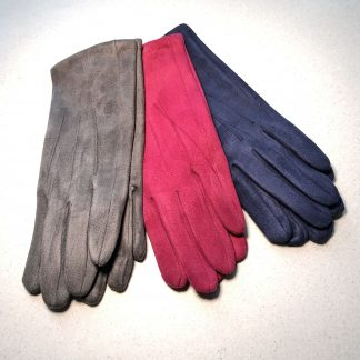 Plain Faux Suede Gloves