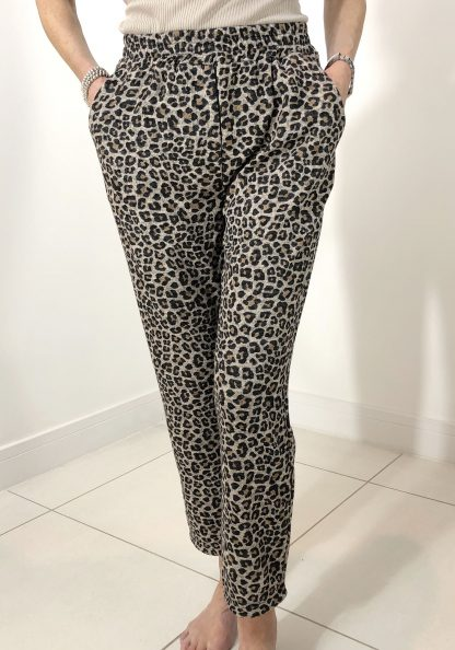 elasticated leopard trousers