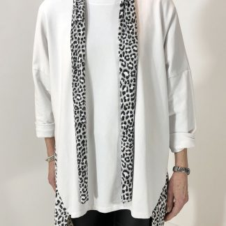 leopard trimmed scarf top