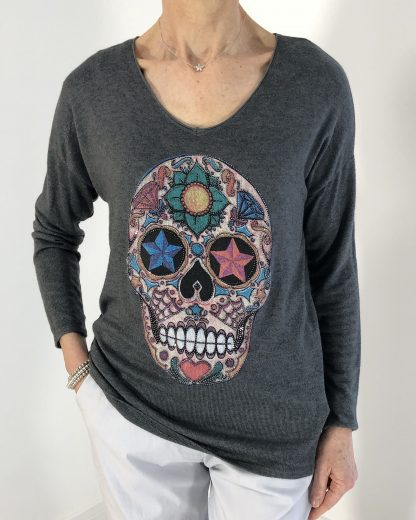 sparkle skull top