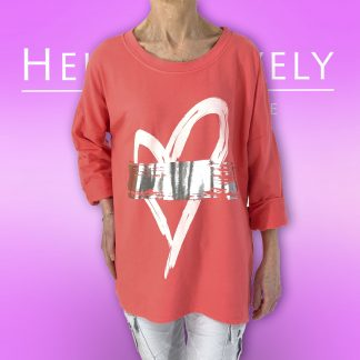 silver flash heart sweatshirt