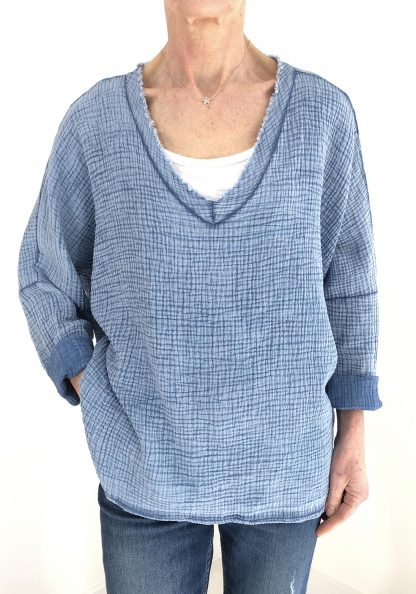 cheesecloth raw edge top