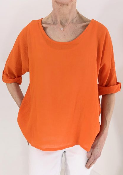 basic cotton-linen top