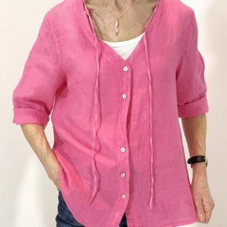 linen collar detail shirt