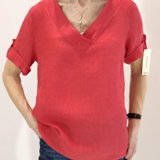 small V neck linen