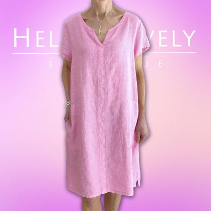 notch neck shift linen dress