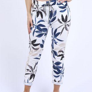 leaf print magic trousers