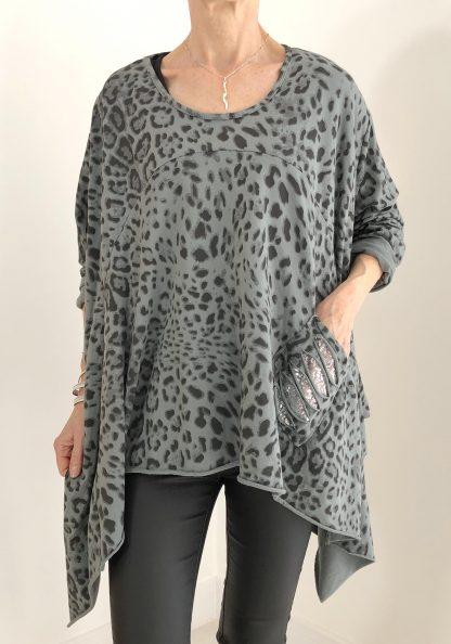 Leopard Sequin Pocket Top